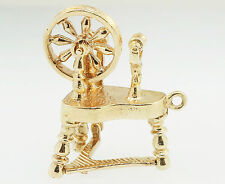 9Carat Yellow Gold Spinning Wheel Charm (16x22mm )