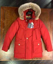 Woolrich uomo TG XS 44 Artic parka df colore rosso pelliccia coyote inverno