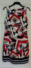 BNWT Wallis Ladies Black Orange Geometric Sleeveless Summer Dress UK Size 10