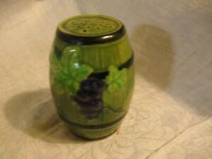 vintage Japan sugar shaker green barrel with purple grapes