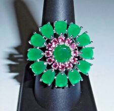 39 Ct.t.w. NATURAL COLOMBIAN EMERALD & PINK TOURMALINE 925 SILVER RING ~ SIZE 9