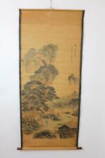 Altes großes Rollbild aquarellierte Druckgrafik Landschaft Gelehrte China