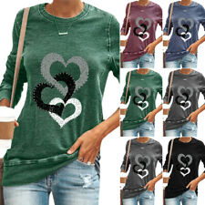 Women Love Print Long Sleeve T-Shirt Blouse Casual Pullover Shirt Basic Tee Tops