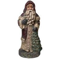 """Vintage Santa Resin Carved Look Holding Tree Christmas Decor Figure 12"""" Tall"""