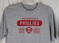 Philadelphia Phillies T Shirt MLB Baseball 1883 Logo Grey Unisex Adult M New