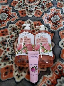 Crabtree & Evelyn ROSEWATER Bath & Shower Gel 16.9 oz PUMP x2 + HAND THERAPY NEW