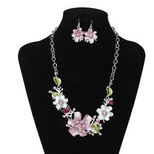 Wedding Bridal Jewelry Flowers Crystal Rhinestone Necklace Earring Set