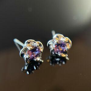 925 Sterling Silver Flower Crystal Stud Earrings Ladies Jewellery UK