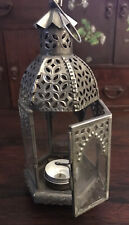 Moroccan Style Metal Glass Candle/Lantern-hinged Door. Detailed Arched Panels