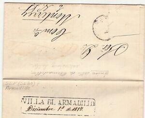 MEXICO 1857 SAN LUIS POTOSI VILLA DEL ARMADILLO LETTER PUEBLA SITUATION (H383)