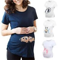Women Maternity Summer Casual Short Sleeve Tops Print Pregnancy Tee Shirt Blouse