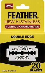GENUINE FEATHER NEW HI-STAINLESS BLADES - PACKET OF 20 BLADES SUIT SAFETY RAZOR