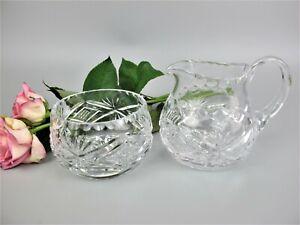 Superb vintage hand cut crystal glass Tea Set: Creamer / Milk Jug and Sugar Bowl