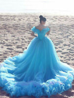 Blue Off-the-Shoulder Princess Organza Wedding Dress Ruffle Sequins Bridal Gown