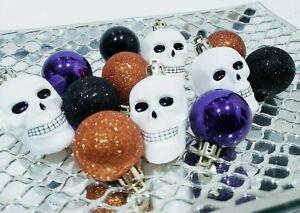 """(12) Halloween Mini Skull Ball Glitter Ornaments 2.25"""" Tree Decorations Decor"""