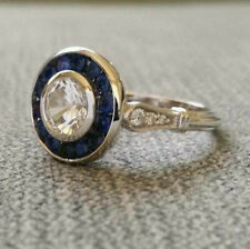 Edwardian Antique 2.57 Ct Diamond & Sapphire Engagement Ring 14k White Gold Over