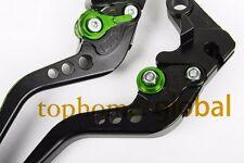 Short Clutch Brake Levers For Kawasaki ZX6R/636 Z1000 07-16 CNC BLK/Green Adjust