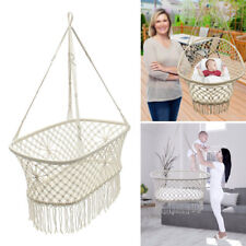 White Rope Hanging Hammock Swing Bed Baby Child Cot Cradle Portable Bassinet