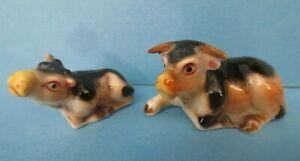 vintage miniature dollhouse mama cow bull & baby porcelain animal figurines 1:12