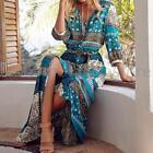ZANZEA Boho Women Loose Floral Print High Split Summer Beach Evening Party Dress