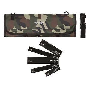 9 Pocket Chef Knife case roll bag Camouflage Camo w/ 5pc. Black edge guard Set