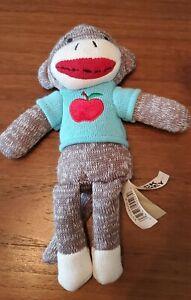 """Dan Dee sock monkey 9"""" stuffed blue sweater red apple Teacher Gift"""