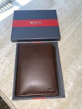 NIB Tumi Delta SLG Brown Leather Passport Case Cover Wallet with RFID Lining