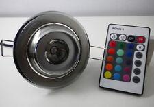 Faretto incasso luce led rgb cromoterapia 16 colori 4 giochi luce 3w foro 6cm