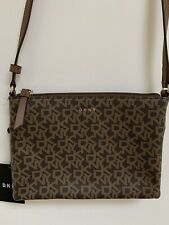 •Brown Small  Size Handbag Designer DKNY Caylin Zip Crossbody New