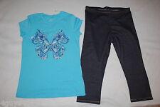 Girls Turquoise T-Shirt FLORAL BUTTERFLY Blue Denim Look Capri Leggings XL 14 16