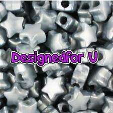 *3 FOR 2* 50 x Grey Pearl Star Shape 13mm Highest Quality Pony Beads