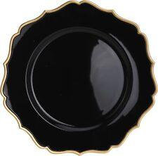 Set of 4 Black With Gold Edging Charger Plates Under Plates 33cm Elegant Range