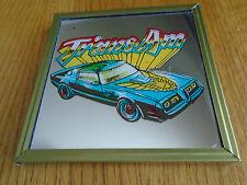 "New! 1970's Pontiac Trans Am Blu Car Framed Wall Decor Art Mirror 4"" x4"" Picture"