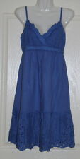 Womens size 10 blue dress made by JUST JEANS - embroidery detail linen/cottton