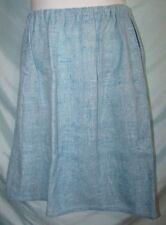 Vintage 70s 80s Blue Tweed Wool Blend Knee Length A-Line Skirt Sz M/L Juniors