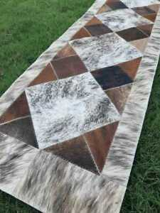 NEW COWHIDE TABLE RUNNER PATCHWORK CARPET AREA RUG LEATHER cow hide BRINDLE