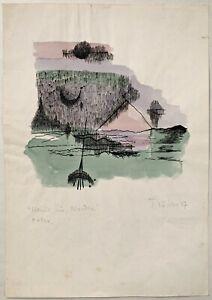 Heinz Trökes handkolorierte Faksimile Zeichnung von 1947 Berlin