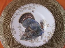 222 FIFTH GOLDEN HILL GOLD TOILE TURKEY THANKSGIVING SALAD PLATES SET OF 4 NEW