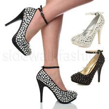 Mujer Damas Tacón Alto Plataforma Noche Boda Diamante Gemas Tribunal Zapatos Talla