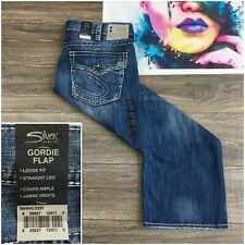 Silver Gordie Flap Jeans Men's 40X32 Med Blue Wash Loose Fit Straight Leg New