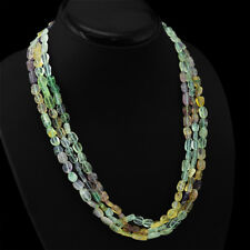 World Class Rare 305.30 Cts Natural 3 Line Multicolor Flourite Beads Necklace