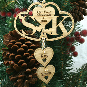 Personalised First Christmas Tree Decoration Mr & Mrs Tree Bauble 1st 2021 Gift