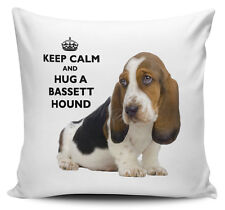 Keep Calm And Hug A Bassett Hound Cushion Cover - 40cm x 40cm - Brand New