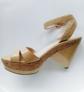 Prada beige leather platform ankle strappy shoes Size 39 Made in Italy