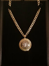 BRAND NEW 14k Curb Chain/ 10k Yellow Gold Medusa Pendant Necklace High Quality