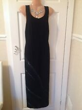 Jacques Vert black maxi sequins dress size 12 immac Worn Once Hols 25/5 To 6/6