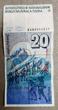 More details for 1 x swiss 20 franc banknote (no longer legal tender, collectable)   switzerland