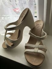 Crocs Cyprus White/Taupe Coloured High Heel Sandals Crocs Size W9 - UK Size 7