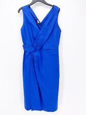 DKNY Womens Faux Wrap A-Line Dress Blue Surplice Neck Sleeveless S/6