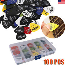 100pcs Acoustic Electric Guitar Picks Plectrum Various 6 Thickness +Pick Bo